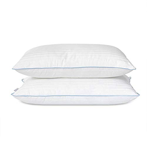 "Bed Pillow - Premium Down Alternative Sleeping Pillows w/ 100% Cotton Casing Cover - Medium Density Loft for Back and Side Sleepers - Pack of 2 Pillows Standard / Queen Size 20"" x 28"""