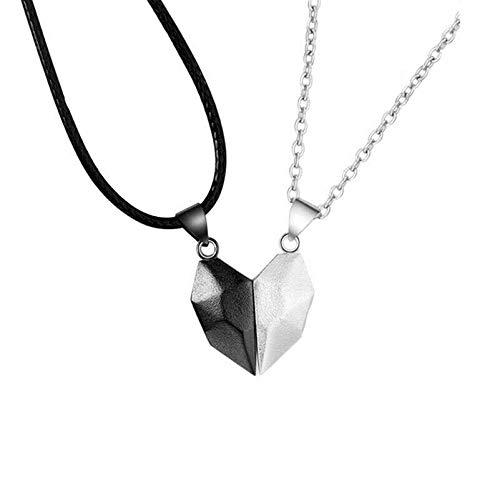 Collar de dos almas con un corazón, cadena de cuello de pareja, colgante simple y ligero, regalo para hombres y mujeres, collar magnético de medio corazón con costura, regalo de San Valentín (1 par)