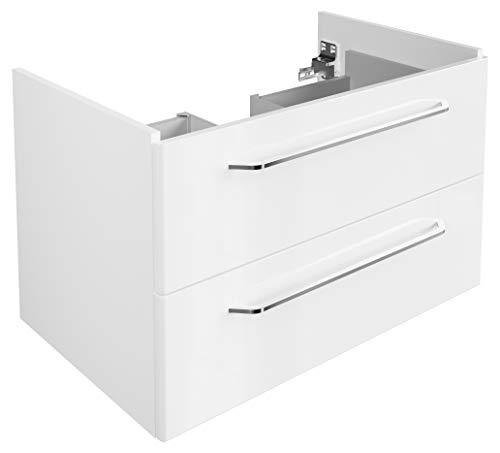 FACKELMANN Waschtischunterschrank Milano/Badschrank mit Soft-Close-System/Maße (B x H x T): ca. 80 x 49,5 x 48 cm/Waschbeckenunterschrank mit 2 Schubladen/Korpus: Weiß/Front: Weiß