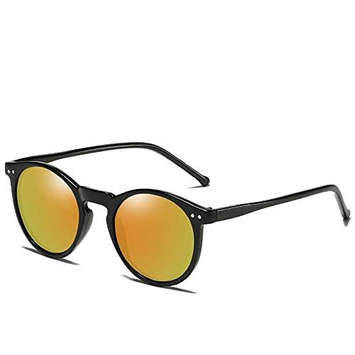 MIMITU 2021 Gafas de sol polarizadas Hombres Mujeres Gafas de sol redondas retro Vintage Hombre Mujer Gafas UV400, C7 Negro, Naranja, OTRO