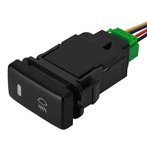 EVGATSAUTO 12V Interruptor de botón de 4 polos para RAV4/Land Cruiser/Prado/Hilux/Camry/Corolla/Tacoma/Tundra/4Runner con luz indicadora de fondo LED