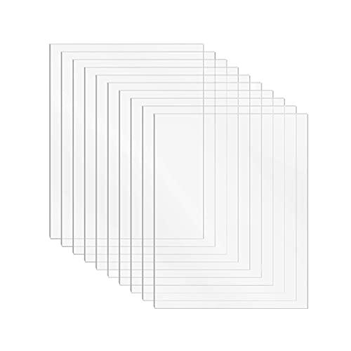 DARENYI 10 fogli di plastica trasparente in plexiglass da 1 mm in acrilico trasparente per disegnare, stampare, fai da te, cornici per foto, ecc. (15 x 10 cm)
