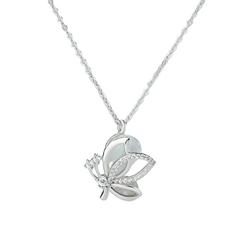 N&A Decoración de Mariposa Collar Forma Collar en Capas Collares Colgante Cadena de Plata Joyas para Mujeres y niñas Borla Colgante Collar de Cadena de clavícula Moda Plata de Ley 925