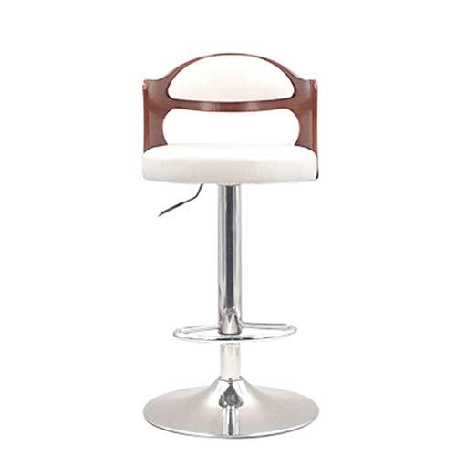 GBX Bar, Café, Restaurant Stuhl, Hocker, Cafetería, Esszimmerstühle, Barhocker Kuhfell Barhocker Massivholzrücken kann angehoben und abgesenkt werden,Weiß