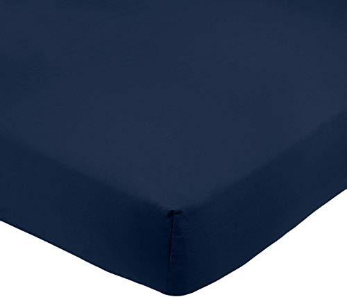 AmazonBasics - Lenzuolo con angoli in microfibra, 140 x 200 x 30 cm, Blu scuro
