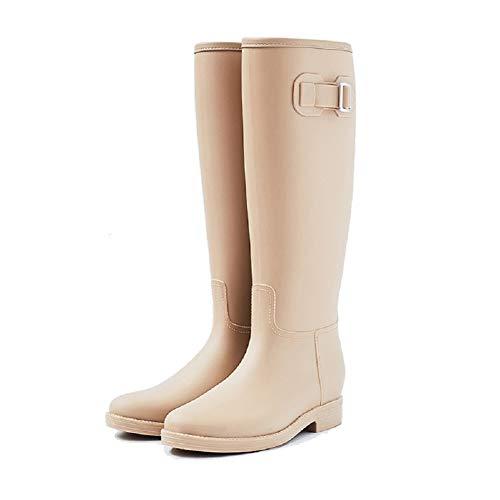 AONEGOLD Stivali di Gomma Donna Stivali Pioggia Antiscivolo Impermeabile Alti Wellington Boot Modo Stivali da Giardino(Beige,36 EU)