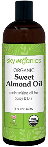 Organic Sweet Almond Oil (16 oz) by Sky Organics 100% Pure Cold-Pressed Almond Body Oil Sweet Almond Oil for Body Skin Hair and DIY Almond Massage Oil Natural Almond Body Oil USDA Organic