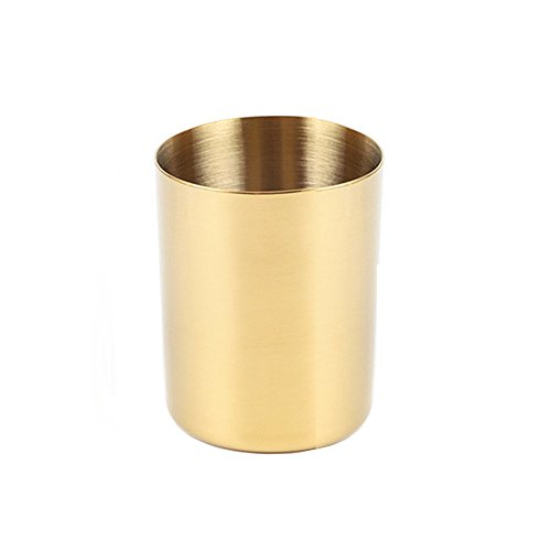 Gold Stainless Steel Pen Holder Cup for Home Office Desk Organizers Multi Use Pencil Pot Flower Mini Vase Decor (Gold)