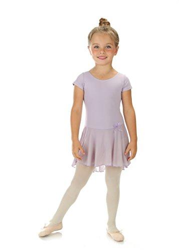 elowel | Mädchen | Sport-Ballet-Tanztrikot | Tutu | Gymnastikanzug, Leotard | Kurzärmelig - Mit Rock, Rüschen | Elegant & Bequem | Größe: 4-6 Jahre | Farbe: Lavender