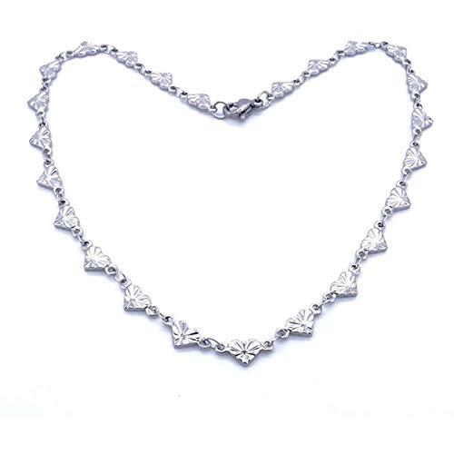 Ladies Ankle Bracelet Stainless Steel Anklet Glittering Heartshaped Charm Vintage Jewelry E