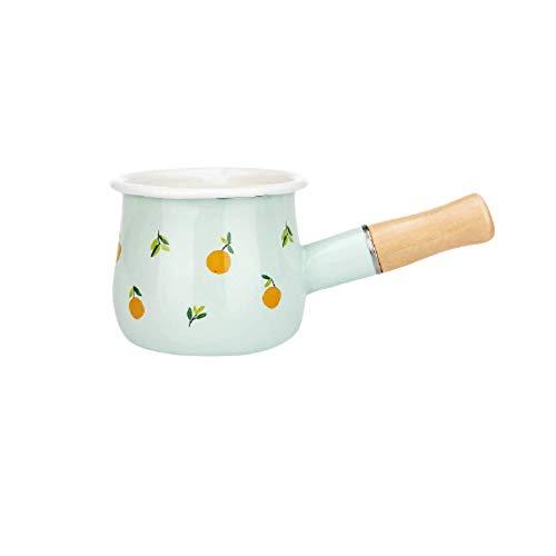 Ceramic Baking Dish 500ml Enamel Milk Pot With Wooden Handle Gas Stove Induction Cook Baby Breakfast Milk Coffee Saucepan Cookware Kitchen Baking Tool Baking Dish (Orange)