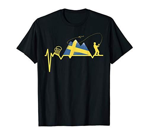 Herren Angeln Angelnrute EKG SCHWEDEN ANGELN CAMPING BIER Angler T-Shirt