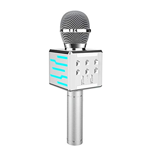SHANGXIN Illuminated Microphone, Wireless Bluetooth Microphone, Stereo Integrated K Song Microphone, Cool Lighting, Multiple Color Options.