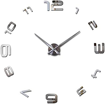 Nrpfell DIY Arabic Large Number Wall Clock Modern Design Giant Wall Clock 3D Mirror Effect Wall