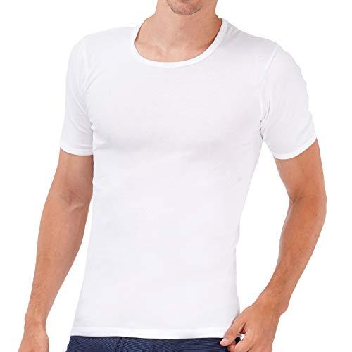 ASCOT Unterhemd Herren Weiß I 4er Pack Unterhemden mit Arm I Herren Unterhemd aus 100% Baumwolle ohne Seitennähte I Männer Unterhemd in Feinripp Qualität I O-Neck Rundhals I Größe 8 (XXL)