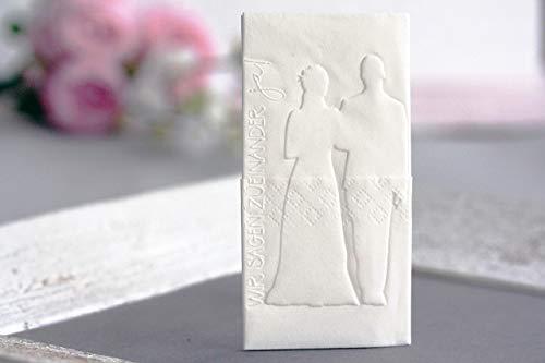 25 Geprägte Taschentücher für Freudentränen, Motiv: Brautpaar