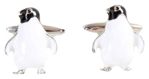 David Van Hagen Herren-Manschettenknöpfe Pinguin, Weiß/Schwarz