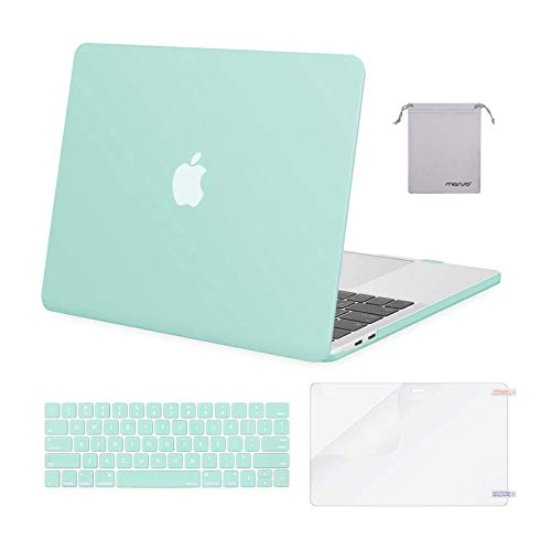 MOSISO Compatible with MacBook Pro 13 inch Case 2020 2019 2018 2017 2016 Release A2338 M1 A2289 A2251 A2159 A1989 A1706 A1708, Plastic Hard Shell&Keyboard Cover&Screen Protector&Pouch, Mint Green