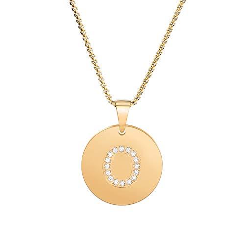 BUNSIKING Collar de acero inoxidable chapado en oro de 14 quilates con letra mayúscula, circonita con inicial y cadena de 45,7 cm dorado