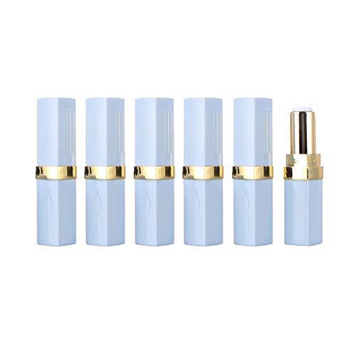 6pcs 3.5g haut de gamme bleu carré tubes à rouge à lèvres vierges avec bobine dor rechargeablen plastique pommade à lèvres Tube DIY Lipcream conteneur de stockage pots pots flacons pour dames filles