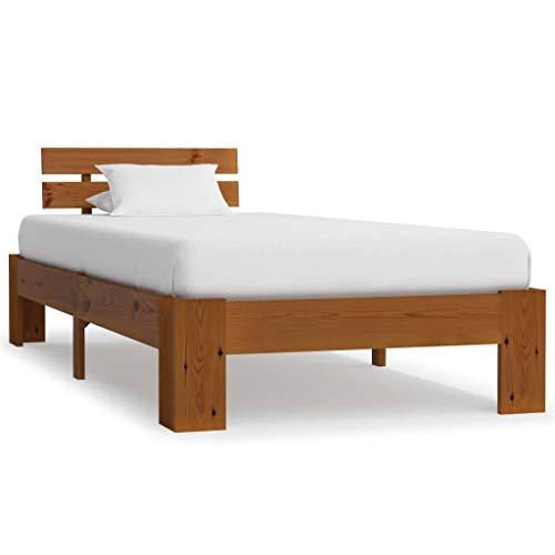 mewmewcat Estructura de Cama Madera Maciza Pino marrón Miel 100x200 cm