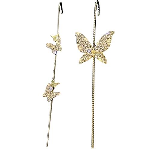 Pendientes de mariposa con diseño de mariposa, 2 piezas de diamantes de imitación