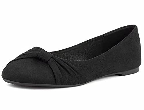 MaxMuxun Damen Geschlossene Schleife Beqeueme Office Flache Schuhe Schwarz Größe 40 EU