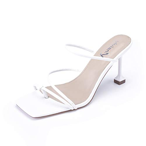 Vivianly Women's Square toe Sandals Strappy Heels On Party Shoes