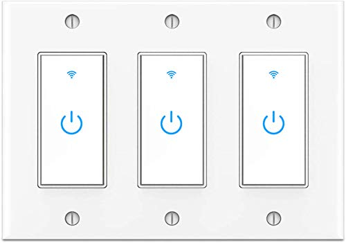 Smart Switch 3Gang Smart Light Switch 3 Gang, 2.4Ghz in-Wall Smart Switch WiFi Light Switch Compatible with Alexa and Google Assistant, Single Pole, Need Neutral Wire