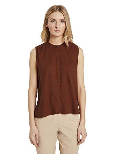 TOM TAILOR Damen Blusen, Shirts & Hemden Ärmellose Hemdbluse aus Leinengemisch Goji Orange,46