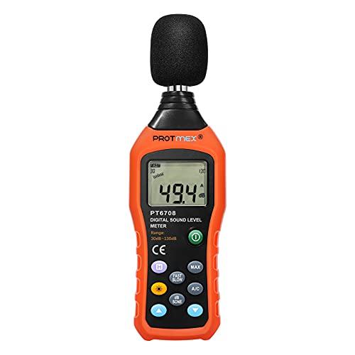 Protmex Misuratore di livello sonoro digitale livello di pressione sonora Nosie metri Tester Misuratore Con Retroilluminazione Display 30 -130dB 30hz-8khz Ad Alta Precisione Di Misura Data Record Function MS6708