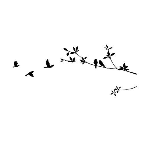 OMMO LEBEINDR Chic Vögel Fliegen Wandaufkleber einfacher Art-Baum-Zweig Wandaufkleber-DIY Kunst-Wandaufkleber für Haus Wohnzimmer Schlafzimmer Decorfor Convenience