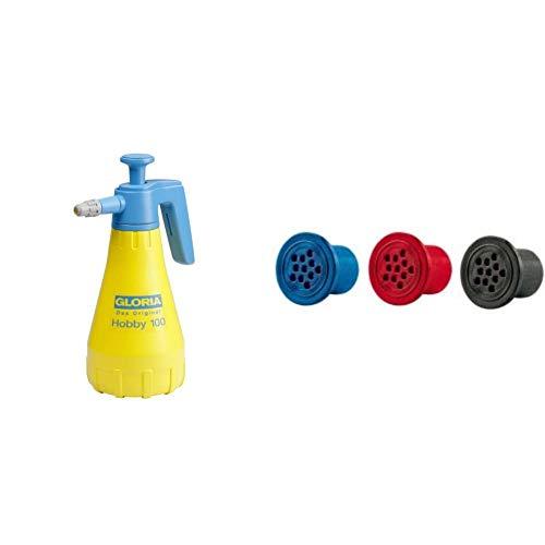 Gloria Drucksprüher Hobby 100 | Gartenspritze | Handsprüher | 1,0 L Fllinhalt | Mit Verstellbarer Düse & Ersatz Schaumpatronen für alle FoamMaster und FoamyClean Geräte