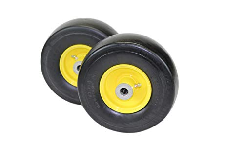 """(Set of 2) 9x3.50-4 Flat Free Tire Assemblies Fits John Deere 38"""" 48"""" 54"""" AM115510, 4"""" Hub, 3/4"""" Caged Roller bearings"""
