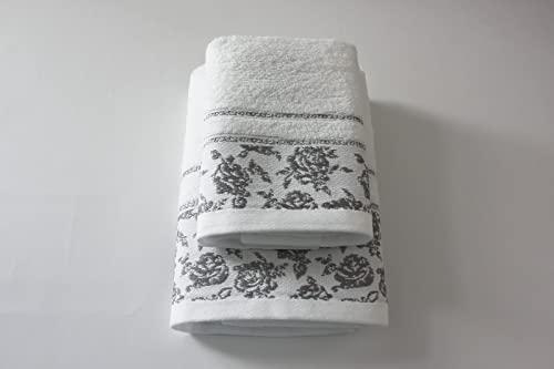Set 1+1 Asciugamani da bagno Ada con Balza in Jacquard, Viso e Ospite misure: Viso: 50x100 cm. Ospite 38x58 cm. 100% cotone, morbide al tatto. Spugna di alta qualità proveniente da Portogallo.(Bianco)