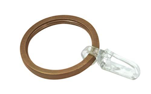 GARDINIA Gardinenringe für Gardinenstangen Ø 25 mm, Inklusive Gleiteinlage und Faltenlegehaken, 10 Stück, Breite 4 mm, Metall, Bronze