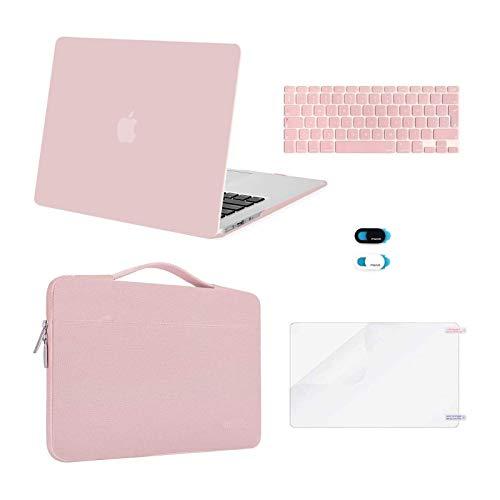 MOSISO Funda Dura Compatible con MacBook Air 13 (A1369/A1466, Versión 2010-2017), Plástico Carcasa Rígida & Funda Protectora & Protector de Pantalla & Piel de Teclado & Cubierta de Webcam, Cuarzo Rosa