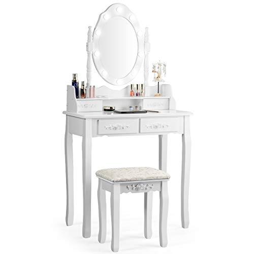 COSTWAY Schminktisch mit Hocker, 360° drehbarem Spiegel und 10 dimmbaren LED-Birnen, Frisiertisch aus Tisch und Abnehmbarer Oberteil, Kosmetiktisch mit 4 Schubladen, 75 x 40 x 146 cm (Weiß)