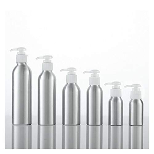 Cosméticos vacíos 1pc Aluminio Loción Bomba Botella Blanco Gorra Negro Metal Contenedor de Tina Vacío Empaquetado Cosmética Champú Loción Botella 40-250ml Prueba de Fugas