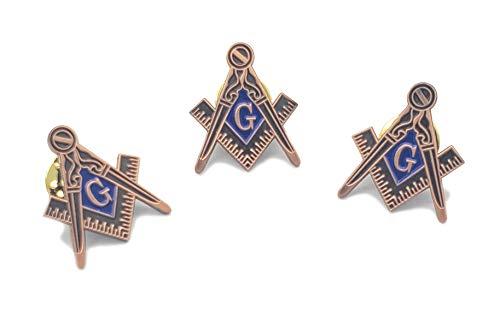3 pcs Masonic Square and Compass Freemason Lapel Pin Third 3rd Degree Master Mason Blue Lodge