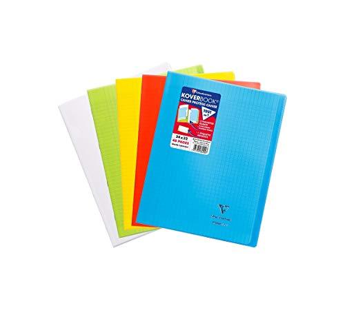 Clairefontaine 984450AMZC - Un lot de 5 cahiers piqués Koverbook 48 pages 24x32 cm 90g grands carreaux, couvertures polypro (plastique) couleurs assorties (Bleu, vert, rouge, jaune et incolore)