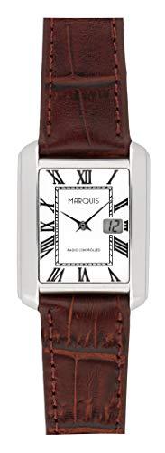 MARQUIS Damen Funkuhr Armbanduhr, Braunes Lederarmband, deutsches Funkwerk 4015