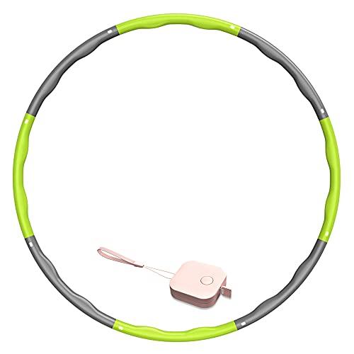 SOCLL Hula Reifen für Erwachsene, 6-8 Abnehmbare Abschnitte Gewichtsverlust Reifen Geeignet für Erwachsene & Kinder, Rings für Fitness zur Gewichtsabnahme/Bauchformung/Zuhause/Büro, 1,2-1,3 KG (Grün)