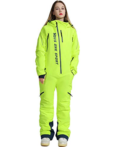 MOUS ONE Women One Pieces Ski Suits Waterproof Warm Insulated Ski Jumpsuit Removable Hood Snowsuit for Snow Sport(Yellow, Large)