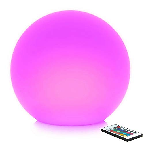 Mr.Go 12-inch Rechargeable Color-Changing LED Ball Light Globe Orb Lamp w/ Remote, Home Kids Room Adult Bedroom Bar Table Patio Pool Party Dimmable Nightlight Relax Mood Lighting Decoration