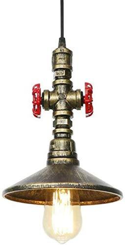 KJLARS vintage industriale singola testa steampunk tubo di acqua lampadario a sospensione a soffitto retrò metallo rame tubo apparecchio casa deco lampadari lampada a sospensione e27 * 1 (bronzo)