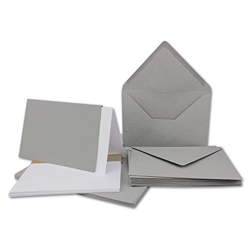50x DIN B6 Faltkarten-Set - Hellgrau - 115 x 170 mm - 11,5 x 17 cm - Doppelkarten mit Umschlägen und Einleger-Papier - FarbenFroh by GUSTAV NEUSER®