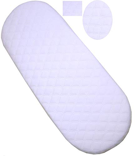 Moses Basket/PRAM Quilted All Sizes Oval Shaped Round Corners Soft Hypoallergenic Moses Basket Mattress Size : 81 X 41 X 3.5 cm