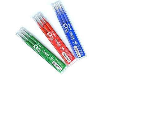 modi_shop Pilot FriXion Ball Set Scolastici e Kit ( Set di 3 Cartucce per 3 Colori - Rosso - Blu - Verde)