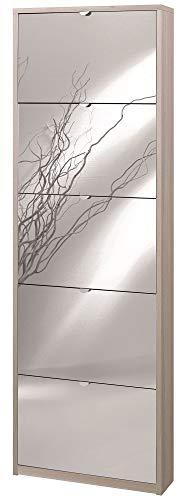 Sarmog Kit SCARPIERA 5 Ante A RIBALTA Frontale con Specchio H190 L63 P18 Cm Finitura Olmo Chiaro Sk555spk